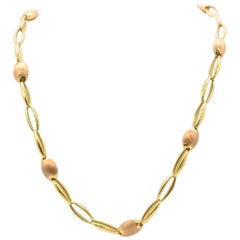 Chimento 18 Karat Yellow and Rose Gold Oval Link Chain Necklace