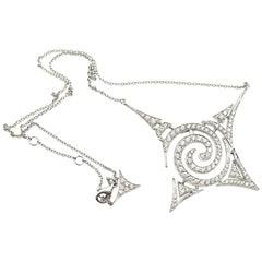 Stefan Hafner 18 Karat White Gold and 1.29 Carat Diamond Pendant Necklace