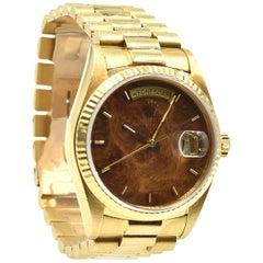 Rolex Yellow Gold Day-Date President Walnut Dial Automatic Wristwatch Ref 18038