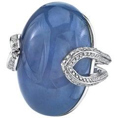 18 Karat White Gold Diamond Blue Chalcedony Wishbone Ring