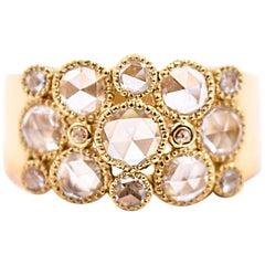 Sethi Couture 1.07 Carat Rose Cut Diamond Cluster Ring in 18 Karat Yellow Gold