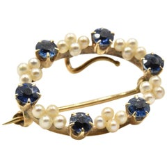 Vintage Pearl and Sapphire Pin 14 Karat Yellow Gold