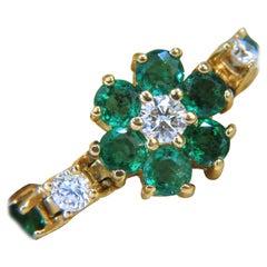 5.75 Carat Natural Fine Emerald Diamonds Tennis Clusters Bracelet 14 Karat