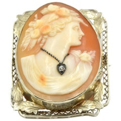 Vintage Cameo Pin with Diamond 14 Karat White Gold