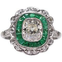 Antique Edwardian Platinum 1.74 Diamond and Emerald Ring