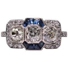 Modern Art Deco Style Platinum Diamond and Sapphire Ring