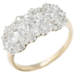 Edwardian 1.45 Carat Diamond and Platinum-Topped 14 Karat Gold Cluster Ring