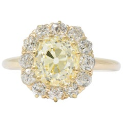 2.59 Carat Victorian Fancy Yellow Diamond White Diamond and 14 Karat Gold Ring