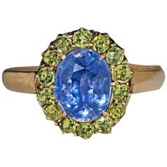 1930s Russian 2.47 Carat Sapphire Demantoid Garnet Gold Cluster Ring