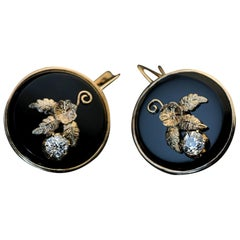 Antique Late 19th Century Onyx Diamond Chased Gold Earrings
