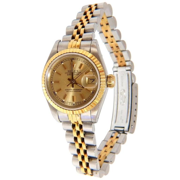 Ladies Rolex Watch Two-Toned Datejust Jubilee 18 Karat Steel Working 29 Jewel