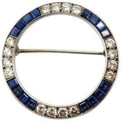Estate Vintage Antique Diamond and Sapphire Platinum Circle Pin