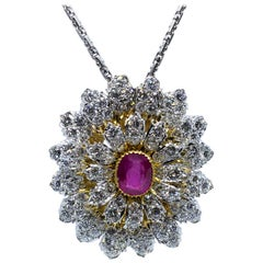 Designer Mario Buccellati 18K  Flower GIA Certified Ruby and Diamond Necklace
