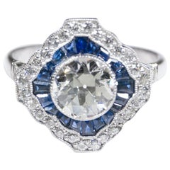 Estate Vintage Antique Art Deco Platinum Old European Cut Diamond Sapphire Ring