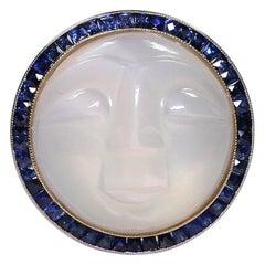 Vintage Estate Antique Man on Moon Platinum 18K Diamond Sapphire Moonstone Ring