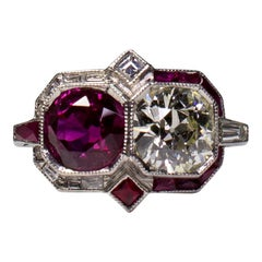 Estate Vintage Antique Platinum Ruby and Old Mine Cut Art Deco Diamond Ring