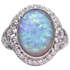 Estate Vintage Antique Art Deco Platinum Black Opal and Diamond Halo Ring