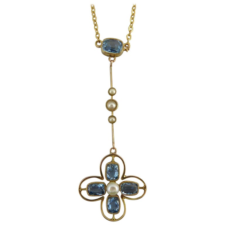 Antique Late Edwardian Necklace, Aquamarine and Pearl, circa 1910