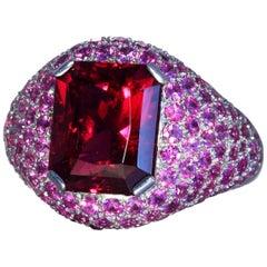 Robert Vogelsang 5.91 Carat Rubelite Tourmaline Pink Sapphire Platinum Ring