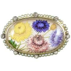 Antique Victorian French Essex Crystal Flower Brooch, circa 1900