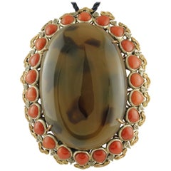 Diamonds Yellow Sapphires Red Coral Drops Gold Silver Pendant Necklace/Brooch