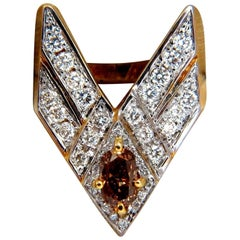 "2.50 Carat Diamonds ""V"" Claw Statement Ring Fancy Color Diamond 14 Karat Long"