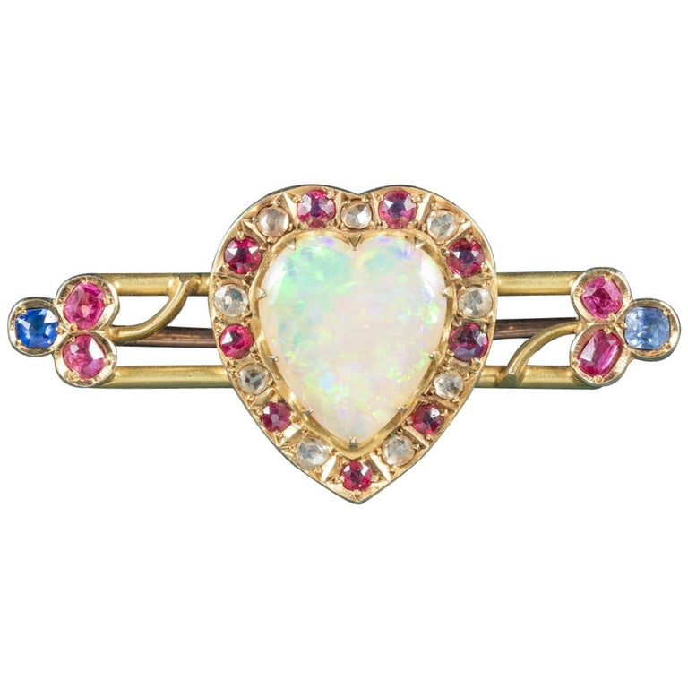 Antique Victorian Ruby Sapphire Opal Heart Brooch 18 Carat Gold