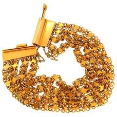 18 Karat Yellow Gold Vintage Wide Caliber Bracelet Mesh Hinged Linked Beads 7.50
