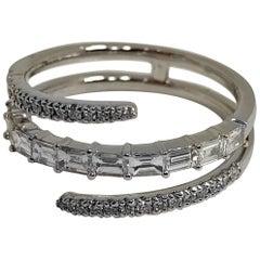 18 Karat White Gold Diamond Coil Ring