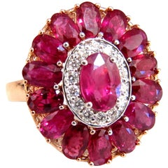 AIGS Certified 4.70 Carat Natural Ruby Diamonds Cluster Ring Ballerina No Heat