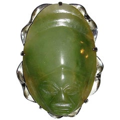 Mexican Carved Jade Sterling Silver Mask Pendant Brooch