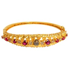 3.26 Carat Natural Ruby Fancy Color Diamonds Bangle Bracelet Euro Gypsy Deco