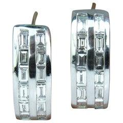 2.00 Carat Baguette Two Rows Diamond Hoop Clip Earrings 14 Karat
