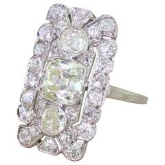 Art Deco 3.05 Carat Old Cut Diamond Plaque Ring