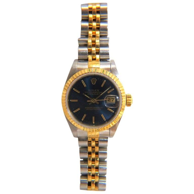 Ladies Blue Rolex Watch Two-Toned Datejust Jubilee 18 Karat Steel Working