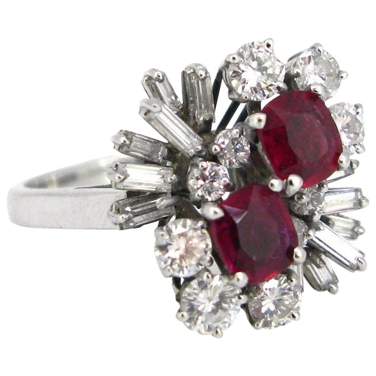Flower Cushion Cut Ruby and Tappers Brilliant Cut Diamonds Cluster Ring