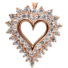 2.50 Carat Diamonds Open Heart Necklace 14 Karat G/Vs