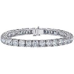 GIA Certified Cushion Cut Diamond Tennis Bracelet 33.07 Carat by Louis Newman