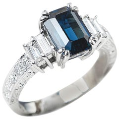 GIA Certified 18 Karat White Gold Step Cut Sapphire and Diamond Engagement Ring