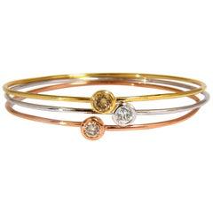 1.18CT Stackable Bangles Diamonds Bracelet 14KT Fancy Color Mod Interlock