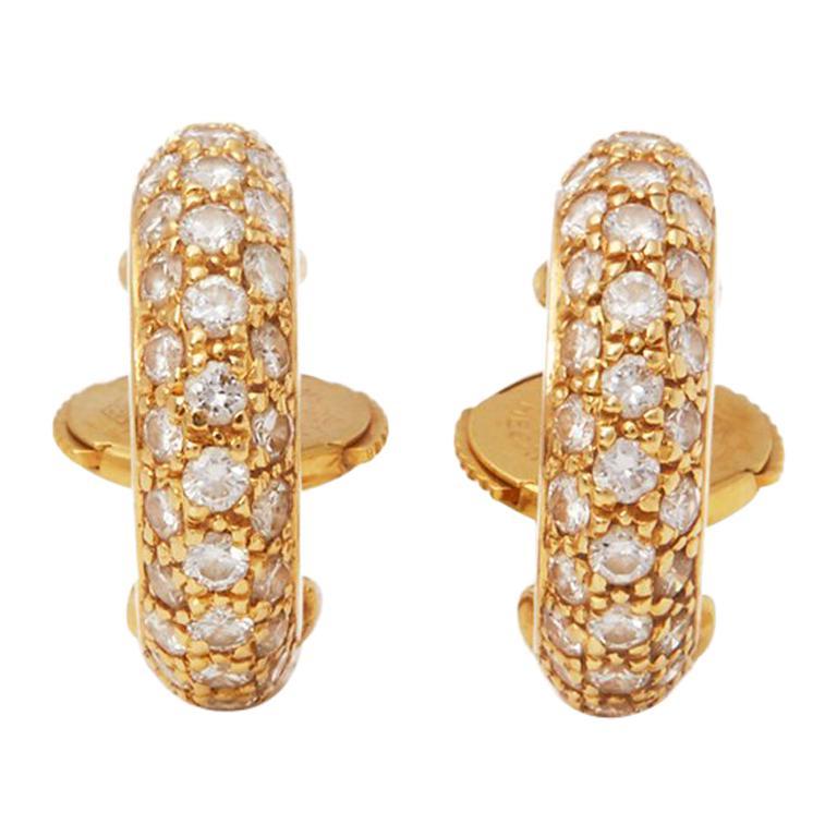 Cartier 18 Karat Yellow Gold Diamond Huggie Hoop Mimi Earrings