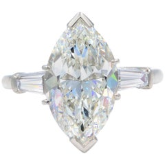 Three-Stone 5.40 Carat Marquise Diamond Engagement Rings with Side Baguettes