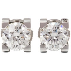 Cartier 18 Karat White Gold Round Cut Diamond C De Cartier Stud Earrings
