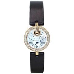 Cartier Captive Silver Dial Brown Satin Strap Diamond Ladies Watch