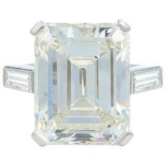 Three-Stone 11.27 Carat Emerald Cut Art Deco Diamond Ring 18 Karat White Gold