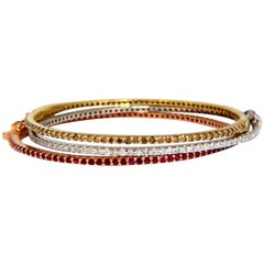 6.34 Carat Natural Fancy Brown White Diamonds and Ruby Stacking Bangle Bracelets
