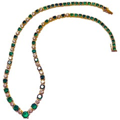 22.00 Carat Colombian Emerald Diamond Necklace 18 Karat Yellow Gold