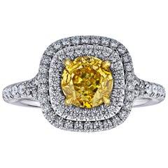 GIA Certified 1.02 Carat Diamond Natural Fancy Intense Yellow Orange Color Ring