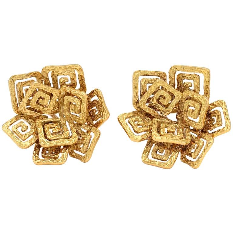 Pomellato 18 Karat Gold Greek Key Ear Clips