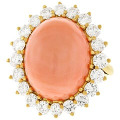 Vacheron Coral and Diamond Set Gold Ring